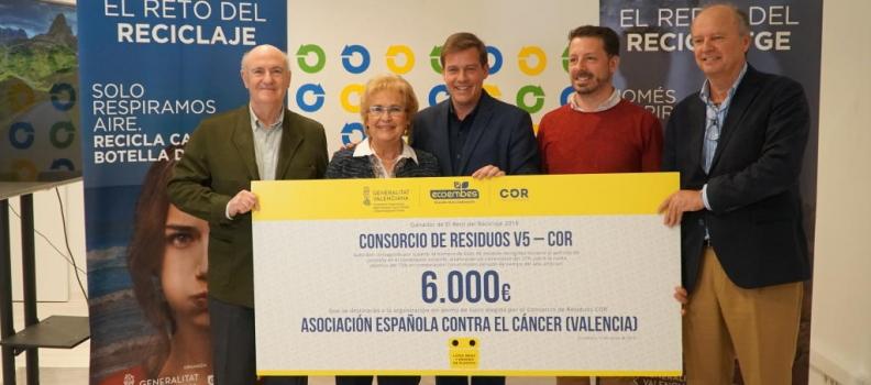 El COR destina los 6.000 euros del 'Reto del Reciclaje' a la asociación contra el cáncer